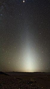 Zodiacal light: after dark, sunlight is reflected off of space dust and scattered.