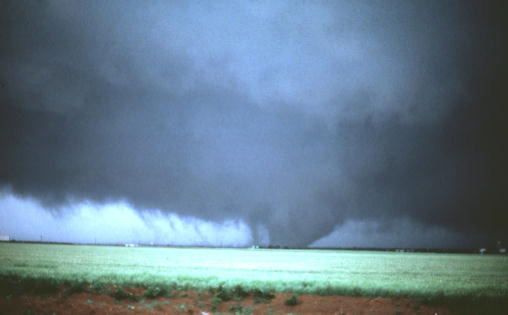 Multi-vortex tornado in Altus, OK, May 11, 1982. NSSL Photo.
