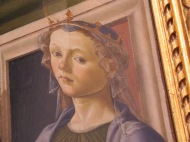 "Florence: Galleria degli Uffizi. Botticelli, Madonna with Saints Mary Magdalene..."" Detail."