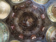 Ravenna: Basilica di San Vitale. Dome with 18th Century baroque frescoes.