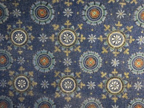 "Ravenna: The Mausoleum of Galla Placidia. Vault decoration, ""The Garden of Eden."""