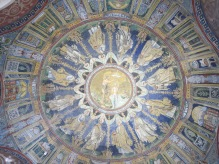 Ravenna: The Neonian Baptistry. The baptism of Christ, surrounded by the Apostles.