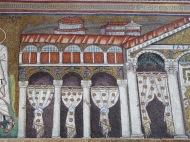 Ravenna: Basilica di Sant'Apollinare Nuovo. The Palace of Theodoric. Notice the leftover hands and arms on the columns.