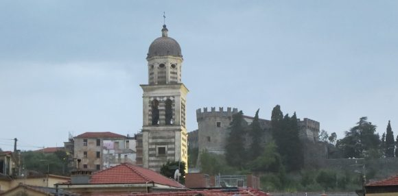 Levanto: The tower of Sant' Andrea church, and the Castle.