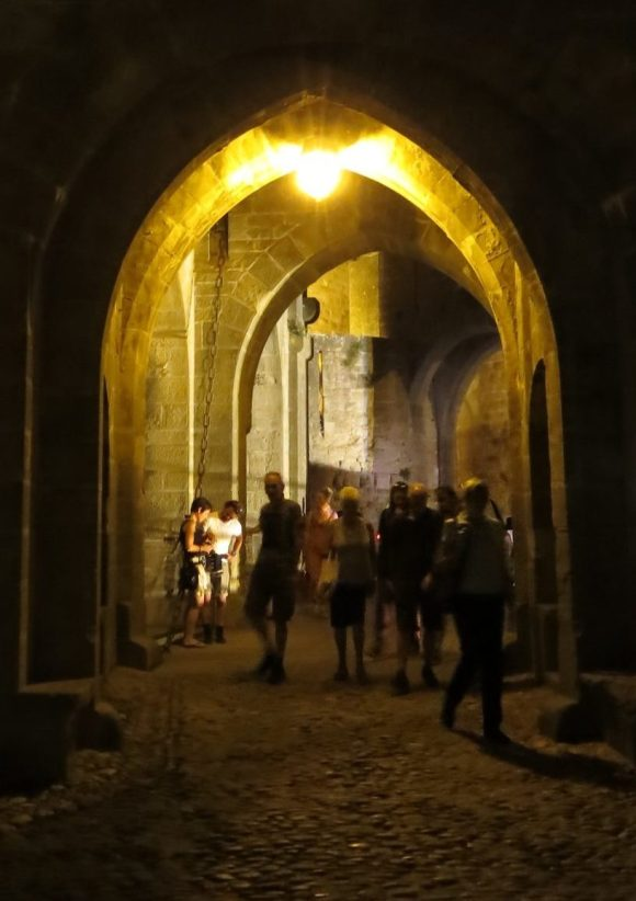 Carsassonne: Through the Narbonne Gate at night.