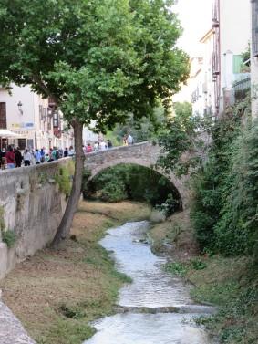 Granada: Old bridge over the River Darro.