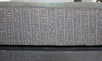 London: British Museum, Black schist sarcophagus of Ankhnesneferibre, Thebes.