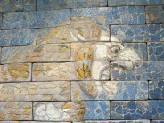 London: British Museum, detail, Glazed brick panel showing a roaring lion from the Throne Room of Nebuchadnezzar II, Babylon.