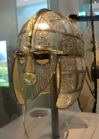 London: British Museum, Sutton Hoo ship burial (early AD 600s), Helmet replica showing how it appeared when new.