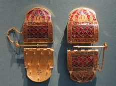 London: British Museum, Sutton Hoo ship burial (early AD 600s), Shoulder clasps.