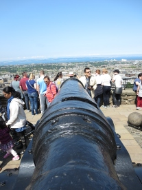 Cannons don't kill people, castles do. Edinburgh Castle.